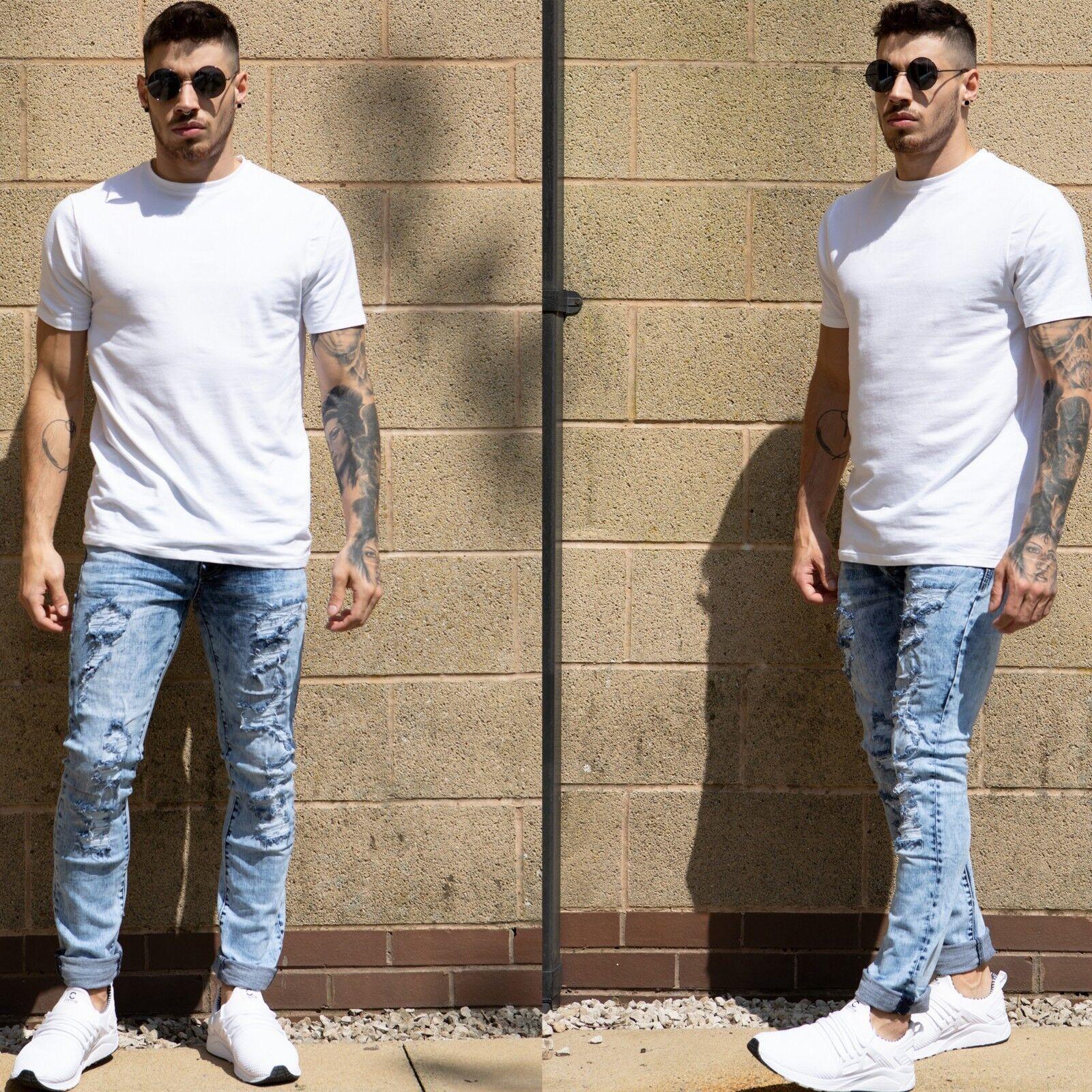 Stretch Homme Déchiré Slim Jeans Détruit Denim Effet Vieilli rxptxw8q