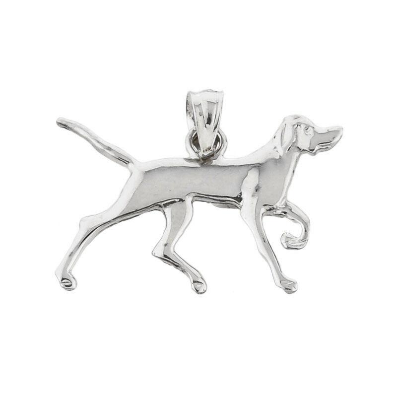 Polished White gold German Shorthaired Pointer Dog Pendant