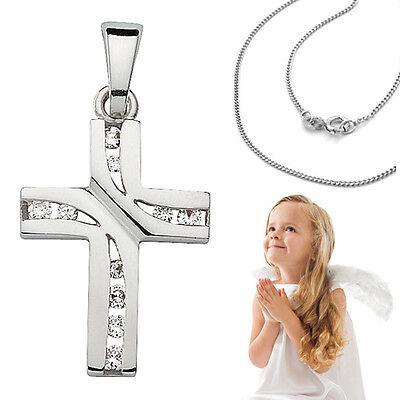 Kinder Zirkonia Kreuz Anhänger zur Taufe Kommunion Firmung mit Kette Silber 925