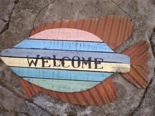 "WELCOME Wood /& Metal Fish Sign Beach Seaside Nautical Tropical Decor 15/"" X 9/"""