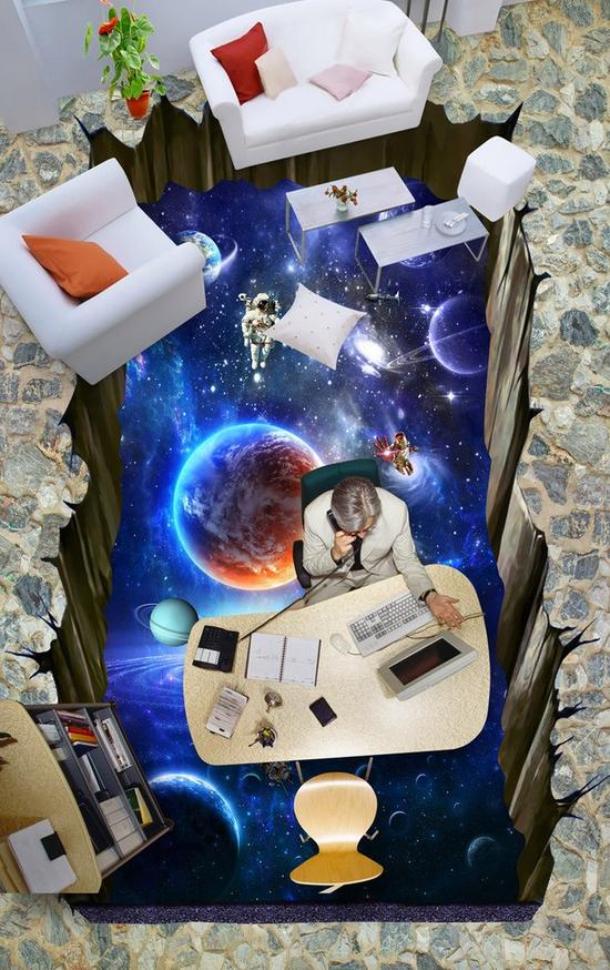 3D Planet Blau 49 Fototapeten Wandbild Fototapete Tapete Familie DE Lemon