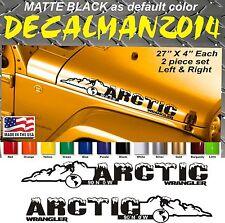 Pair Jeep Wrangler Mountain Arctic Vinyl Hood Decals JK JKU 2007-2016
