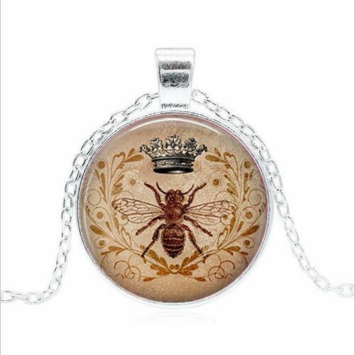Bumblebee Vintage Tibet Argent Dôme En Verre Chaîne Collier Sautoir Pendentif Wholesale