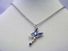 Silver colour Tinker bell style pendant with blue jewelled wings & blue jewel