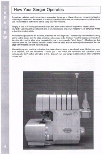 Imagine BLE1AT BLE1AT-2 Baby Lock Serger Users Guide Instruction Manual Book How