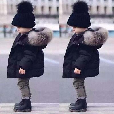 Fur Hooded Coat Boys Kids Black Thick Warm Winter Cotton Padded  Parka Jacket