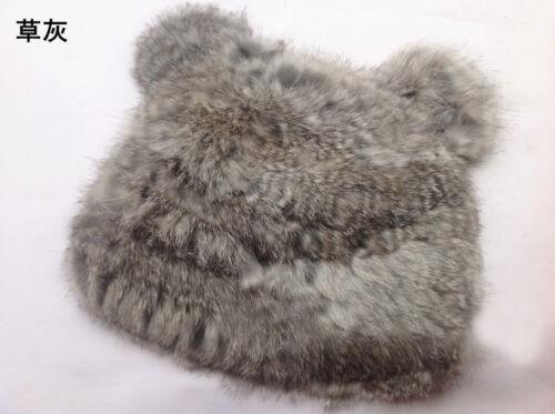 Warm 100/% Real Rabbit Fur Panda Ears Knit Hat Top Level Beret Skullies Ski Cap