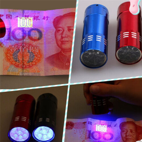 Mini Aluminum UV Ultravlolet LED Flashlight  Black light Torch Light LamRASK