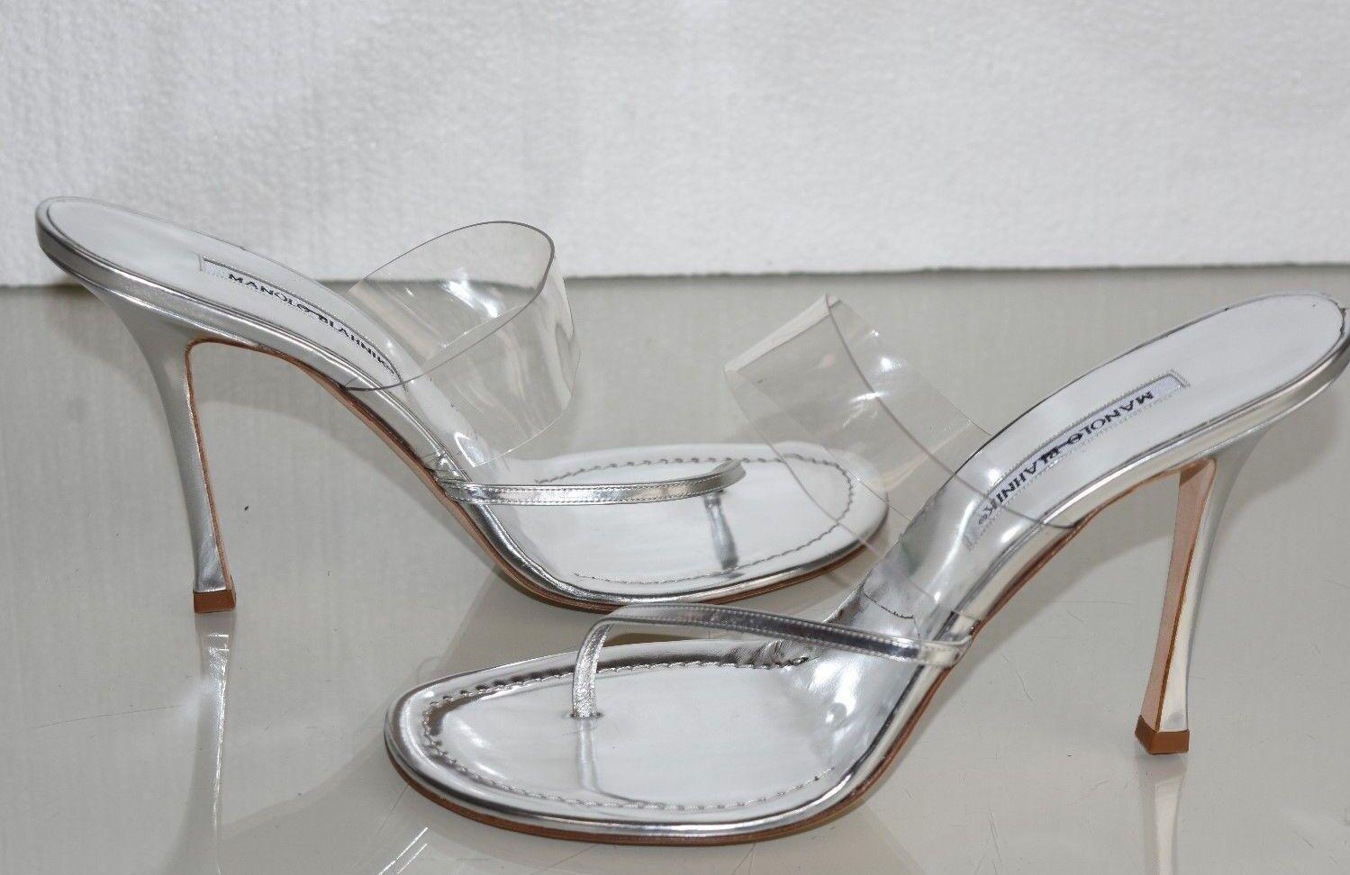 risposte rapide Nuovo Manolo Blahnik Speccio in pelle argentoo PVC PVC PVC Sandali con Cinturini 40.5 41  supporto al dettaglio all'ingrosso