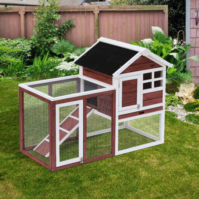 Pawhut 91 Deluxe Large Wooden Bunny Rabbit Hutch Chicken Coop W Large Outdoor Run For Sale Online Ebay