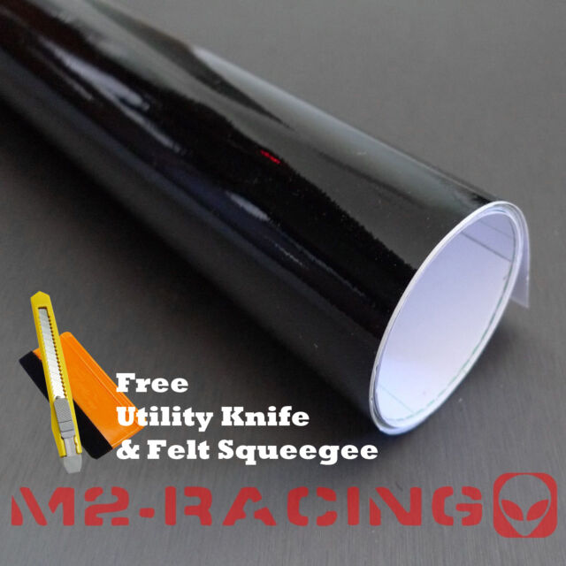 "*48""x60"" GLOSS BLACK GLOSSY Vinyl Wrap Sticker Decal Sheet w/ Bubble Air Release"