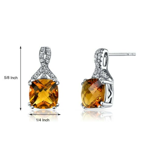 Details about  /14K White Gold Citrine Earrings Ribbon Design Cushion Cut 4.00 ct
