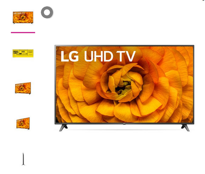 LG 82 Class 4K UHD 2160P Smart TV 82UN8570PUC 2020 Model. Available Now for 600.00