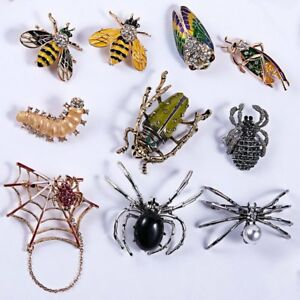 Charm-Women-Men-Jewellery-Gift-Animal-Insect-Bee-Spider-Pearl-Crystal-Brooch-Pin