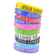 10x Silikon Armband Jesus Loves You Christ Reif Schmuck Geschenk Unisex Zufällig