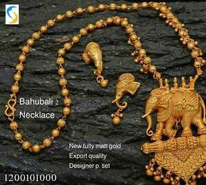 Indian Bridal Necklace Set Matt Gold Plated Jewelry Ethnic Bahubali
