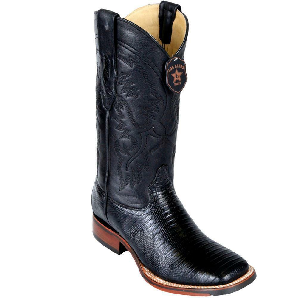 Los Altos BLACK Teju Liazrd Square Toe TPU Rubber Sole Western Cowboy Boot EE