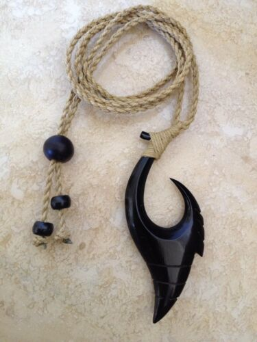 """Hawaiian Fishhook Necklace Carved From Buffalo Horn 2 1//2""""T With Adjustable Cord"""