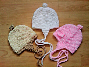 Handmade Hand Crocheted Baby Girl Picot Hat//Bonnet  acrylic  various sizes//cols.