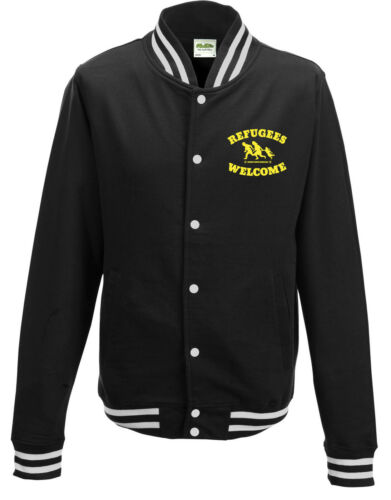 Refugees Welcome Campus Sweatjacket Black White