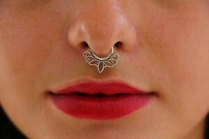 Septum Tribal Nose Ring 92 5 Silver Sterling Pierced Jewelry 1mm