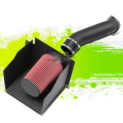 WRINKLE BLACK AIR INTAKE+HEAT SHIELD FOR 03-09 HUMMER H2 GMT913 6.0L//6.2L V8