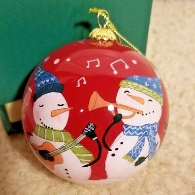 "Elves On A Train Greetings Hand Painted Li Bien Glass 3/"" Ornament 2012 Pier 1"