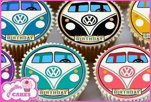 Papier De Riz Décoration 24 x vw camping-car comestible cupcake dÉcoration gÂteau papier de