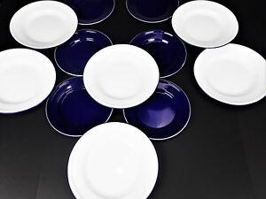 6-Lg-White-6-Sm-Blue-Taipro-Plates-Enamelware-Tin-Glamping-Camp-Boating-Picnic