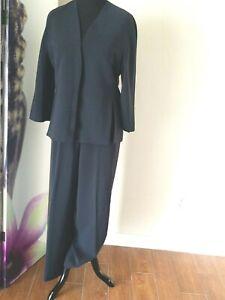 Krizia Womens Slit Front Blazer Wide Leg Dress Pants Suit Size 50 Navy Blue