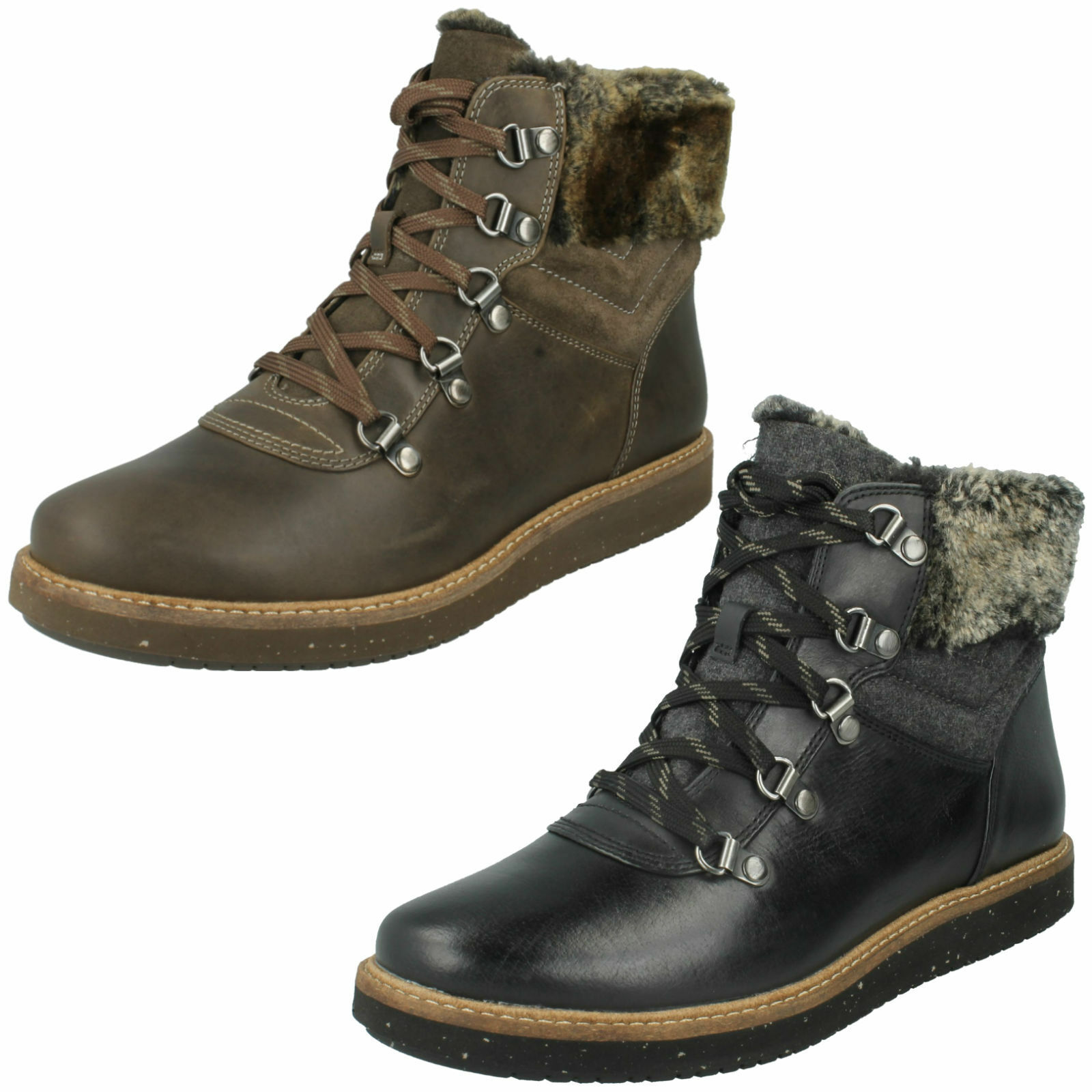 LADIES CLARKS LEATHER FUR TRIM CASUAL LACE UP ANKLE BOOTS GLICK CLARMONT