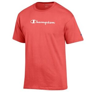 Champion-Script-Logo-Men-039-s-Coral-Haze-Basic-T-Shirt-Men-039-s