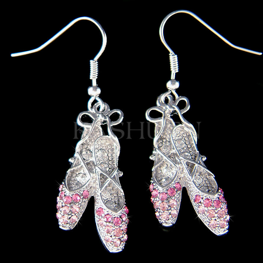 Pink Ballerina Slippers made with Swarovski Crystal shoes Ballet Dance Earrings