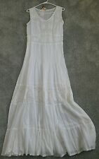 Nwt Womens Raga Forever 21 White Maxi Dress Boho Embroidered Small S BEAUTIFUL