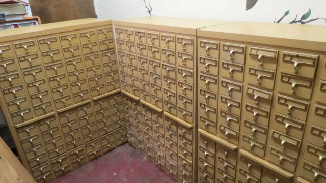 Vintage Library Card Catalog 216 Drawer Index File Cabinet 3 Peice Set  Blonde