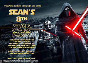 20-Star-Wars-The-Force-Awakens-Birthday-Party-Invitations-Printed-Envelopes-D12