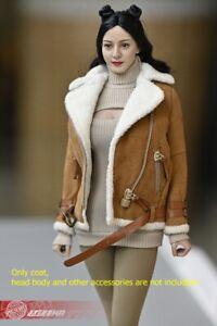 1/6 Women Lambskin jacket sherpa Coat Clothes F 12'' Phicen TBLeague Figure
