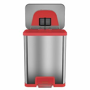 Tapcan 13 Gallon Red Trim Automatic Trash Can With One Tap Pedal