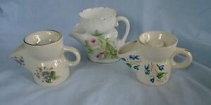 3-Old-Collectable-Shaving-Mugs-Purple-Flowers-Blue-Flowery-Pink-amp-Green-Leaves