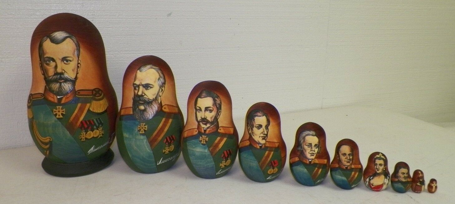 VINTAGE RUSSIA WOOD CARVED NESTING DOLLS RUSSIAN RULERS SIGNED 9 1/2