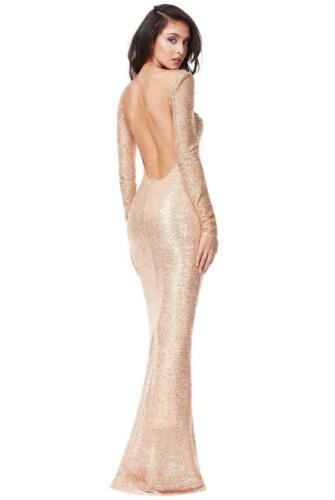Rose Gold Sequin Fishtail Maxi Dress Size 6 8 10 12 14 16 Stretch BNWT Quiz