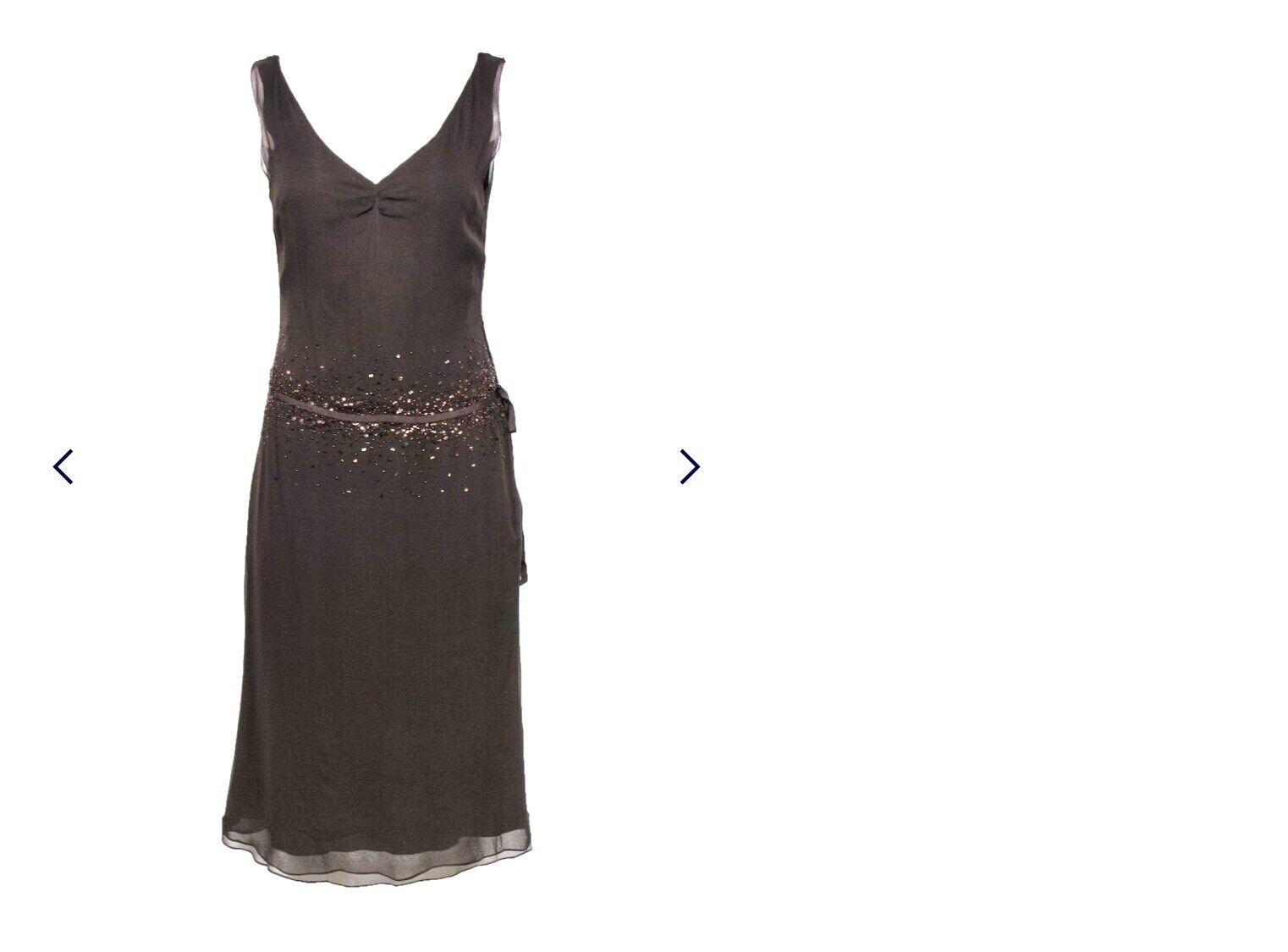 Vera Wang Brown Silk Sleeveless Beaded 20s Look D… - image 9