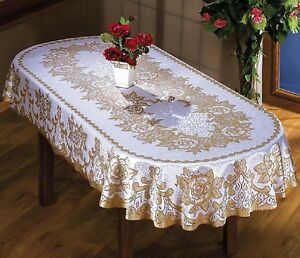 Large Oval Rectangular Tablecloth Two Sizes Cream