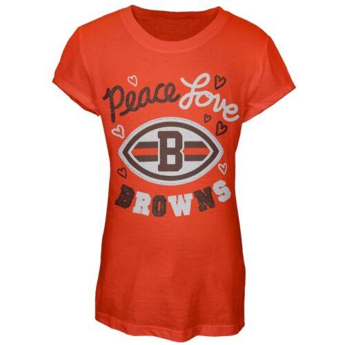 Cleveland Browns Glitter Peace Love Logo Girls Juvy T-Shirt