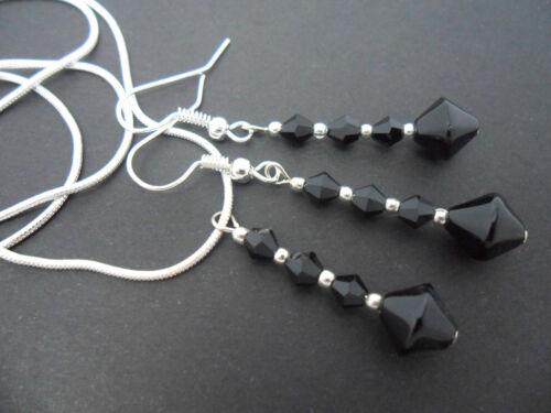 Un cristal negro plateado plata collar y pendiente conjunto Nueva.