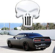 New Listing3d Punisher Metal Emblem Decal Badge Car Gas Door Skeleton Skull Sticker White