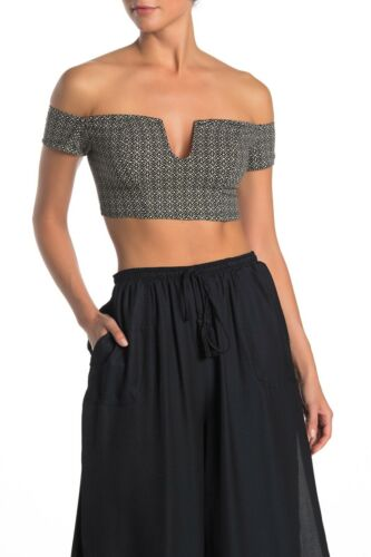 Details about  /NWT Free People Lucky Now Black Printed Brami Off-Shoulder Crop Top Size Small S
