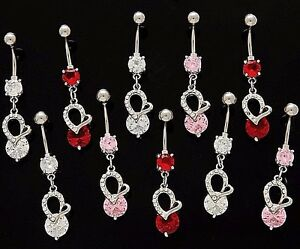 Details About 3x Cz Dangle Belly Button Rings Hearts Elegant 14g Wholesale Gem Fancy Navel 878