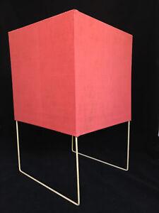 Details Sur Lampe Cube Vintage 1960 Metal Blanc Abat Jour Tissu Rouge C1111