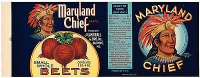 CAN LABEL VINTAGE 1920S AMERICAN INDIAN MARYLAND CHIEF BALTIMORE ORIGINAL BEETS